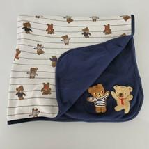 Gymboree Teddy Bear Buddies Reversible Blanket Navy Blue White Striped 2014 - $59.39