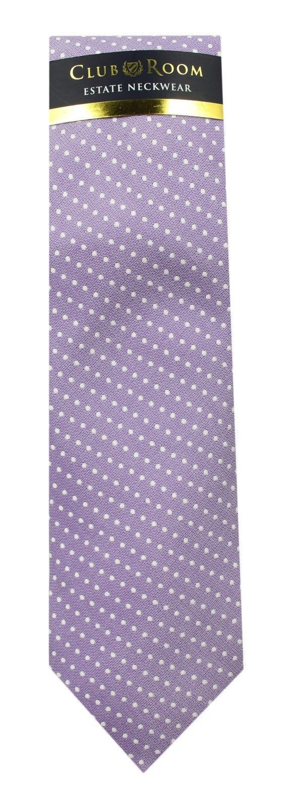NEW MENS CLUB ROOM ESTATE NECKWEAR SUN POLKA DOT PURPLE COTTON SILK NECK TIE $52