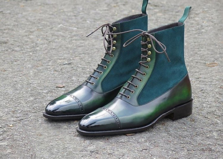 Handmade Men's Green Leather and Suede Two Tone High Ankle Lace Up Boots