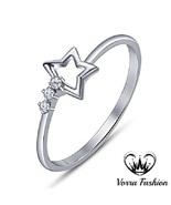 Star Shape Three Stone Wedding Ring White Gold Over 925 Silver Round Cut... - $58.86