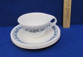 Corning Corelle Livingware 4 Saucers Blue Floral Pattern White 1 Matchin... - $9.89