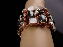 Amy Kahn Bracelet - carved black onyx - Pearl - Hematite - bronze cluster wide b image 3