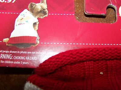 """Size XS X Small 9-11"""" Dog Sweater Holiday Red White for Pet The Holly Day New"""