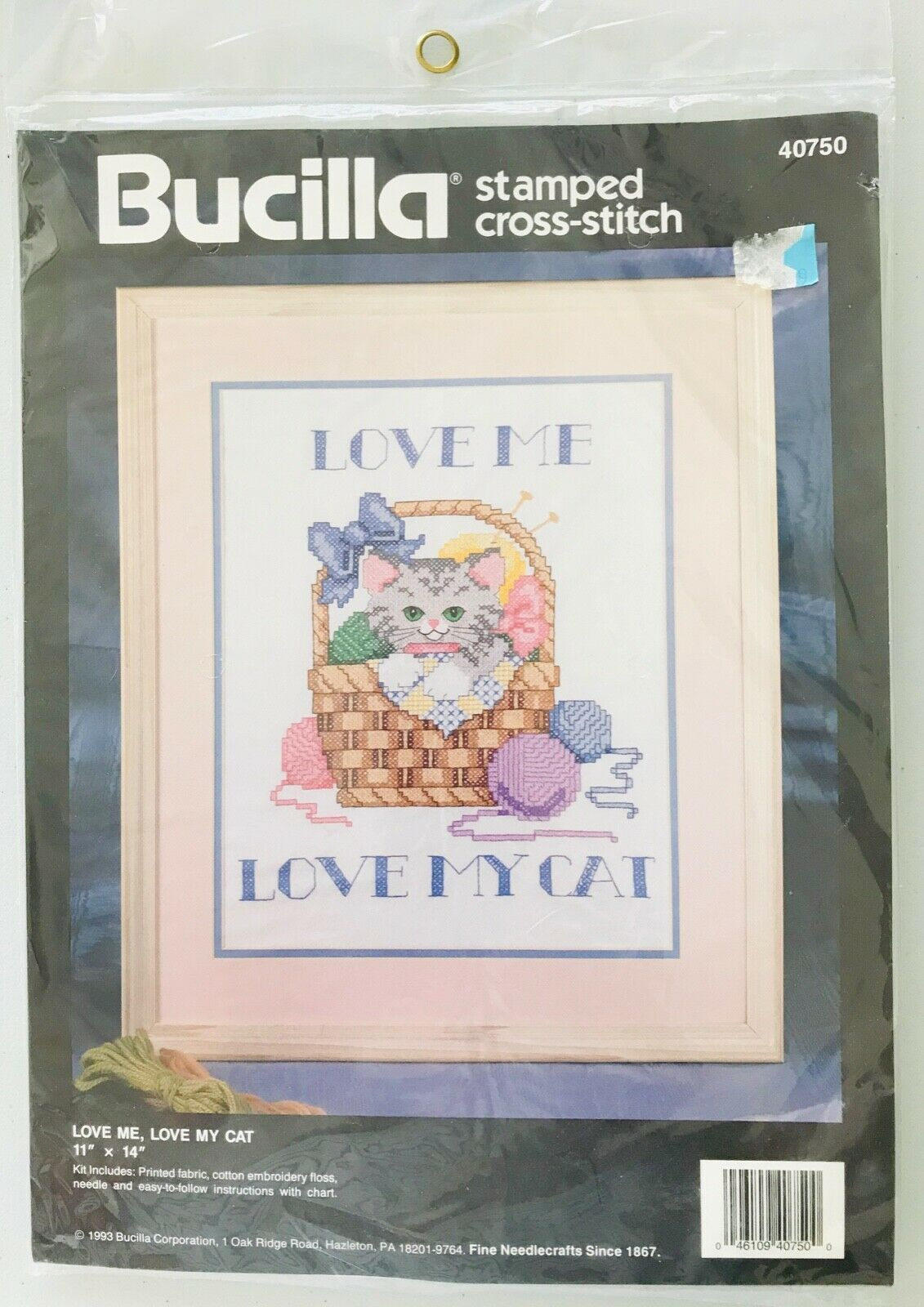 Bucilla 40750 Love Me Love My Cat Stamped Cross Stitch Kit 1993 NIP 11 x 14""