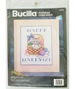 Bucilla 40750 Love Me Love My Cat Stamped Cross Stitch Kit 1993 NIP 11 x... - $14.50