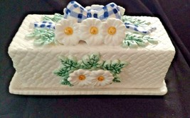 Ceramic Butter Dish MARKED Cracker Barrel 1997 with Daisies/Blue Checker... - $9.89