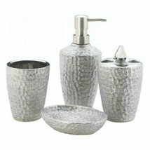 Bath Accessories Set, Silver Texture Shower For Women, Porcelain - £25.37 GBP