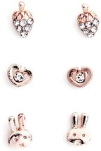 El Vincere Simple Cartoon Starwberry Bunny Heart Fashion Ear Studs 3 Pairs - $12.23