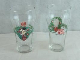 2 - Big Boy Holiday Christmas Wreath Soda Glasses Holly Bow - $17.77
