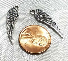 DOUBLE SIDED WING FINE PEWTER PENDANT CHARM - 7mm L x 26mm W x 1.5mm D image 2