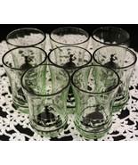 RARE Set of 8 Vaseline Glass Little Bo Peep Silhouette Juice Glasses Bla... - $99.99