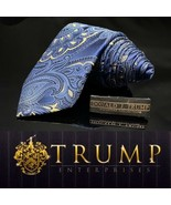 DONALD J. TRUMP~ SIGNATURE COLLECTION Blue Gold Paisley NECKTIE POWER TIE - $124.20