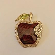 "Gold Tone 2"" Apple Pin Brooch Burgundy Marbled Enamel Clear Rhinestones ... - $9.49"