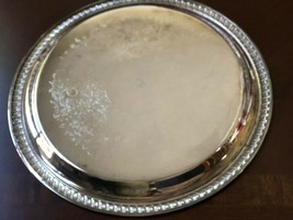 "Silver Plated 10.5"" Round 1980 Thunderbird Engraved Serving Tray Platter - $34.65"