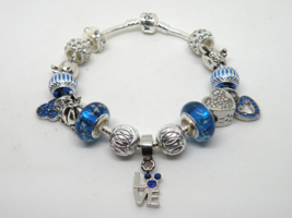 Blue Mickey Mouse European Murano Beaded Bracelet. Gift bag included - $19.95