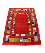 """5'6"""" x 7'9"""" French Field Red Gabbeh 100% Woollen Hand Knotted Rug & Carpet - $672.21"""
