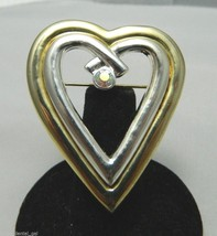 Vintage Gold & Silver Toned Heart with Clear AB Aurora Borealis Stone Pi... - $11.88