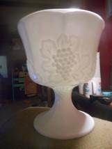 Milk Glass Vintage Pedestal Bowl Planter Vase White Harvest Grape Design... - $11.76