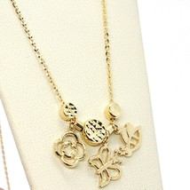 18K YELLOW GOLD NECKLACE, FLOWER, DAISY, BUTTERFLY, BEE PENDANT, MADE IN ITALY image 2