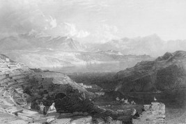 ISRAEL Lake of Tiberias or Sea of Galilee - 1839 Engraving Print - $13.77