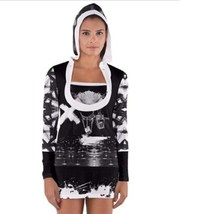 Long Sleeve Hooded women T-shirt with black and white signs modern arty ... - $38.99