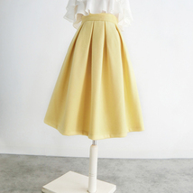 Yellow Wool Midi Skirt Outfit High Waist A-line Winter Midi Party Skirt image 3