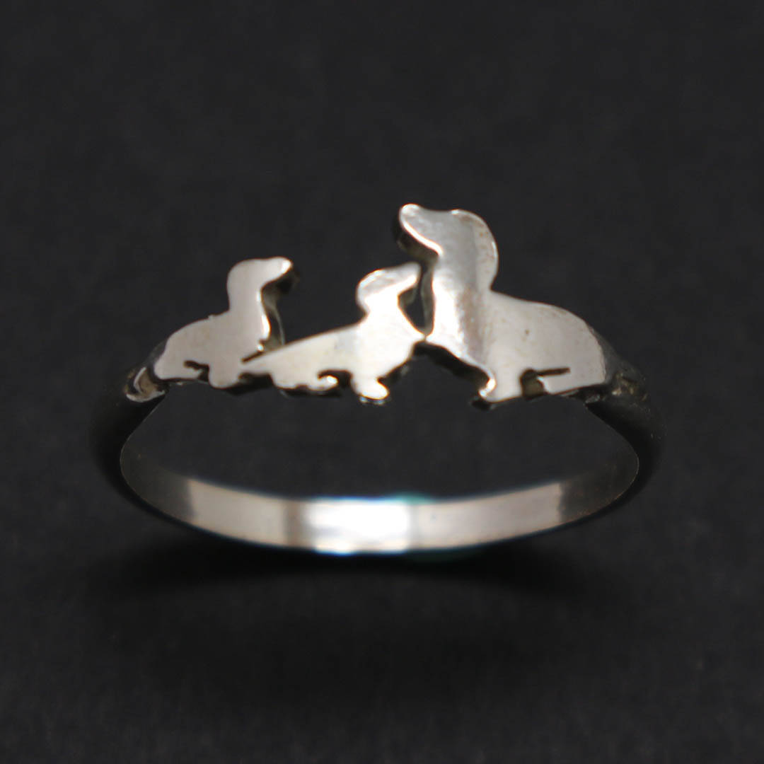 Handmade 925 Sterling Silver Mother and 2 Child Dachshund Dog Puppy Ring