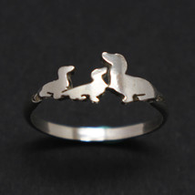 Handmade 925 Sterling Silver Mother and 2 Child Dachshund Dog Puppy Ring - $45.00