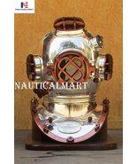 "18"" Antique Morse Scuba Diving Divers Helmet US Navy Mark V With Wooden Base - $389.00"