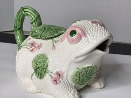 VINTAGE 1986 FITZ & FLOYD FROG With LillyPad TEAPOT Pink White Green JAPAN - $44.50