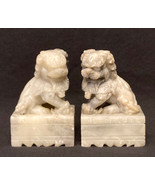 """Vintage Chinese soapstone Foo Dogs 3.5"""" white gray Feng Shui Guardian Lions - $20.00"""