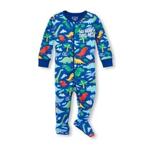 NWT The Childrens Place Boys Dinosaur Blue Footed Stretchie Pajamas Sleeper - $8.99