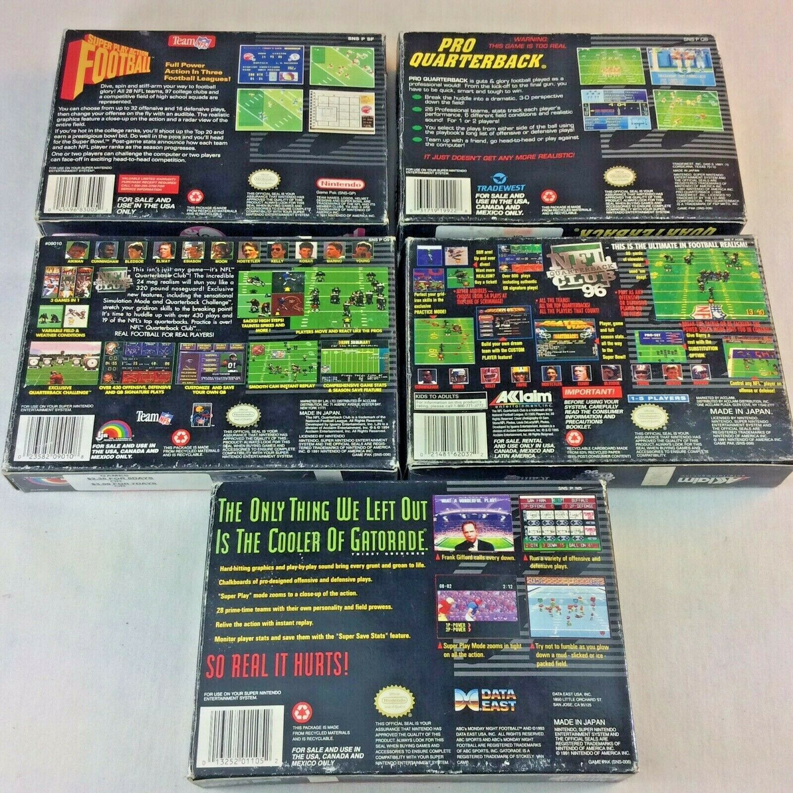 SNES Game Lot NFL Quarterback Club Monday Night Football Super Play Action Boxes image 11