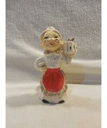 Vintage Commodore Japan Ceramic Christmas Spaghetti Trim Mrs Claus Candle Holder - $9.95