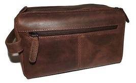NEW PAUL & TAYLOR LEATHER HUNTER DUAL TOP ZIP TOILETRY TRAVEL SHAVE KIT ... - $64.30