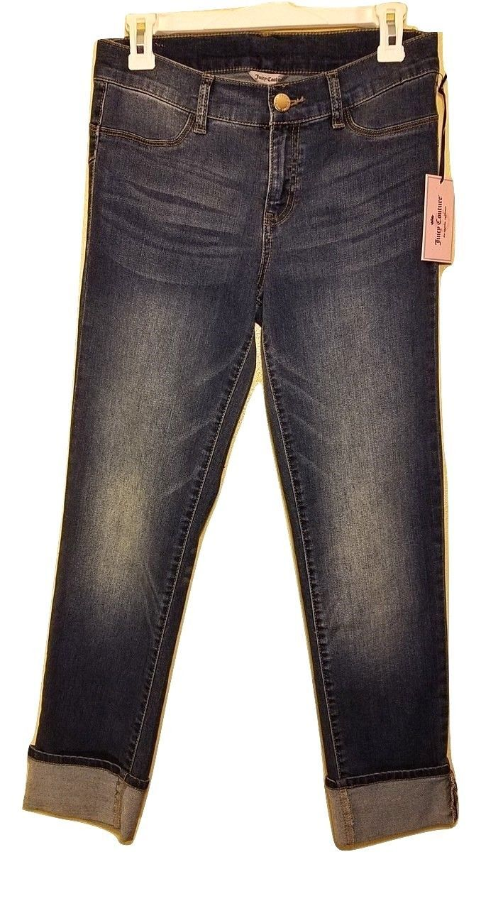 Nwt Juicy Couture Rolle Manschette Denim Röhrenjeans - Dunkle Waschung - Us 4