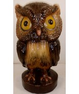 "Vintage Wax Owl Candle Yellow Brown 9 1/2"" Figurine - $24.74"