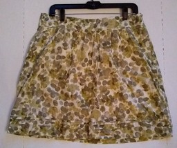 Ann Taylor Loft Skirt Abstract Leaf Floral live Green Size 8 Cotton Lined - $9.22
