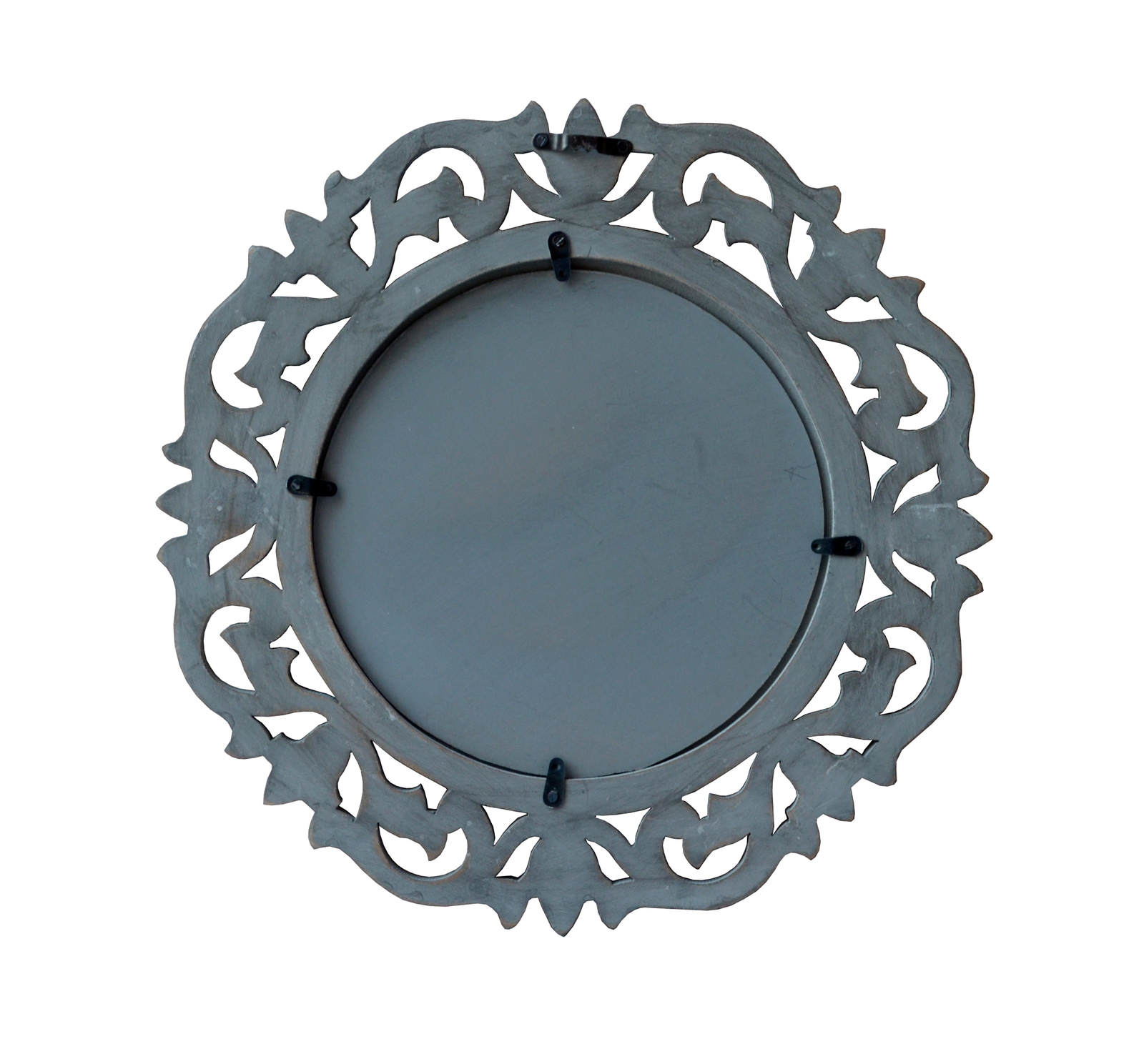 "Decorative & Hand Carved Round Wall Mirror in Shabby Gray Finish, Size : 14""x14"""