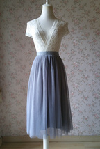 GRAY Tulle Midi Skirt High Waisted Bridesmaid Tulle Skirt Plus Size Gray Wedding image 4