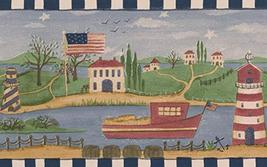 American Flag Lighthouse Village on the River Stars Patriotic Wallpaper ... - $16.33