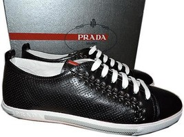 Prada Sport Black Perforated Leather Lace Up Sneaker Flat Shoe 39 / 9 New - $315.00