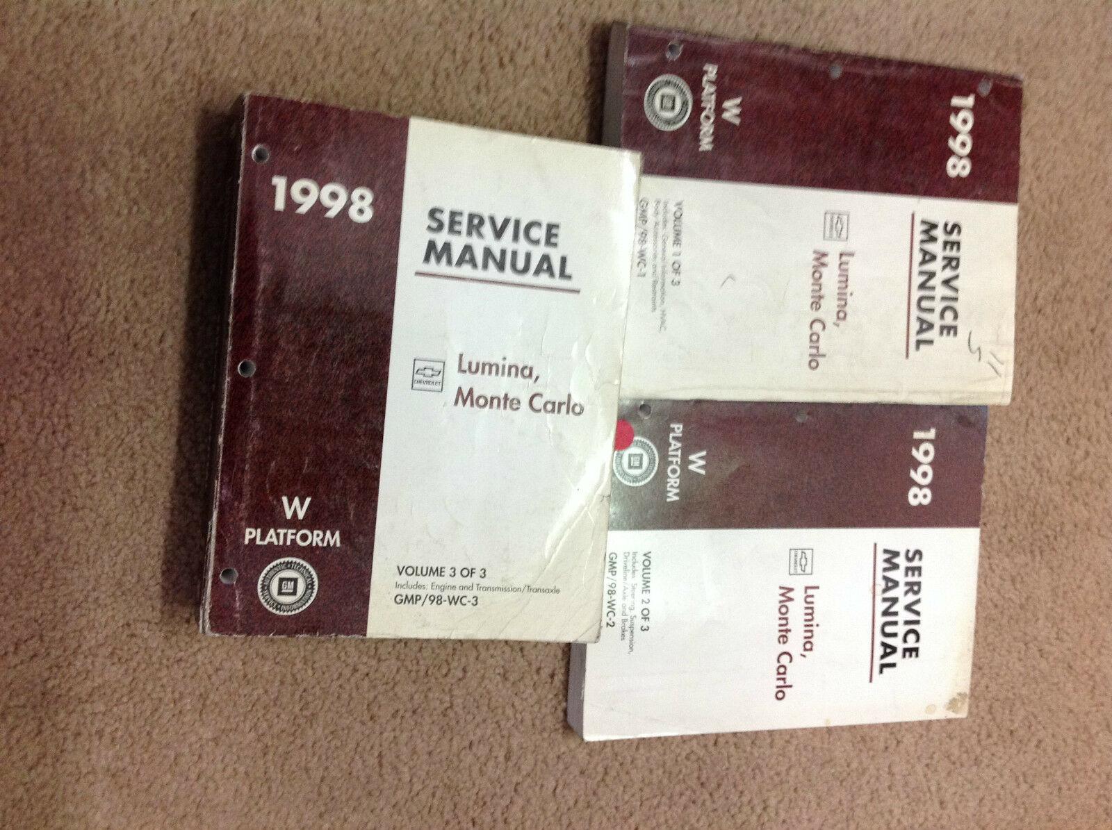 1998 Chevy Lumina & Monte Carlo Reparación Servicio Shop Manual Juego 1ST - $10.89