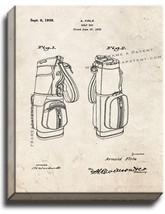 Golf Bag Patent Print Old Look on Canvas - $39.95+
