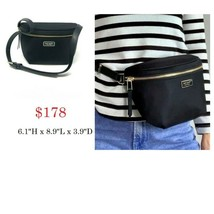 Kate Spade Dawn Place Belt Bag Fanny Pack Sling Nylon w Leather $178 Bla... - $68.31