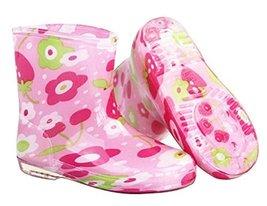 Cute Starry Kids' Rain Boots Pink Flower Children Rainy Days Shoes 16CM