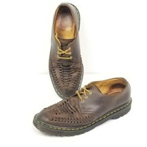 Dr Doc Martens Ezra Mens Size10 Interwoven Distressed Leather Oxford Shoes Brown - $60.78