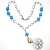 Halskette Silber 925, Medaillon Matt, Türkis Facettiert, Anhänger image 2