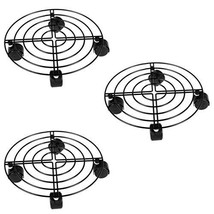 Moutik 3 Pack Round Plant Caddy, Metal Plant Stand on Roller Patio Flowe... - $32.74