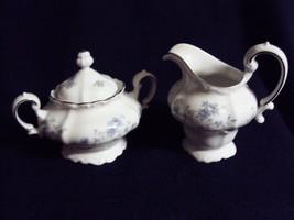 Johann Haviland Blue Garland Creamer and Sugar Bowl Bavaria Germany NICE - $19.75